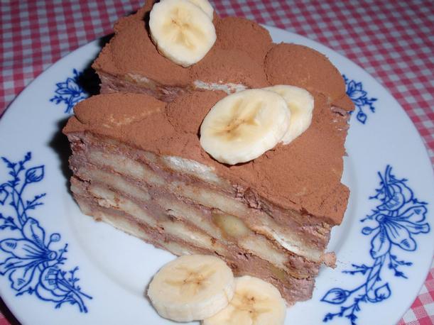 Nepečený banánovo-smetanový dort
